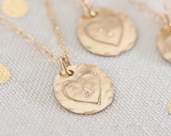 Gold Heart Necklace Personalized, Gold Filled Disc Initial Necklace, Hand Stamped, Hammered