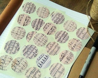 30 Sheet Music Stickers, Vintage Music Note Stickers, Eco Friendly Journal Stickers, Recycled Planner Stickers, (38mm) 1 1/2 inch circles