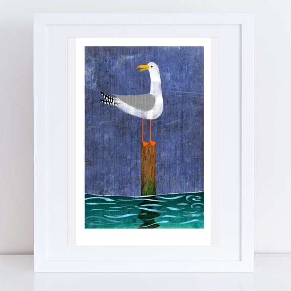 Seagull On A Post - Signed Print