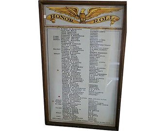 The Great War Military Honor Roll Handpainted Folk Art Upstate New York
