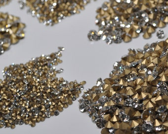 11 Sizes of Replacement Rhinestones Czech Preciosa Crystals Machine Cut Clear with Gold Foil 1.3 to 6.5 mm You Choose