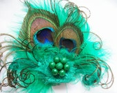 Small and Dainty Shades of Emerald Green Peacock Feather & Crystal Vintage Mini Fascinator Hair Clip- Custom Order