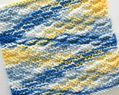 Knit Dishcloth, Cotton Dishcloth, Knitted Dishcloth, Blue Yellow White Dishcloth