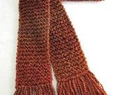 Burnt Orange Scarf, Long Chunky Knit Scarf, Knitted Winter Scarf for Men or Women, Hand Knit Scarf, Rust Scarf