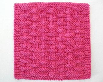Knit Dishcloth, Cotton Washcloth, Knitted Dishcloth, Knit Washcloth, Hot Pink Basketweave Dishcloth