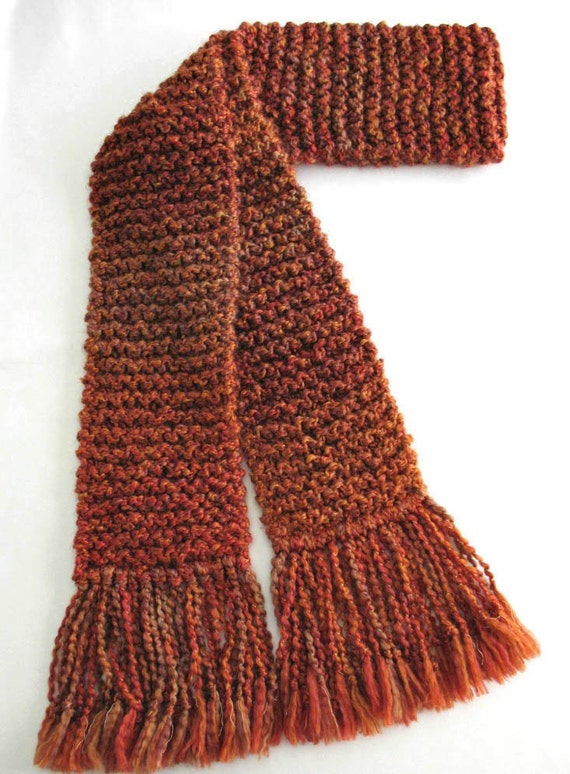 Burnt Orange Scarf, 6 ft Long Chunky Knit Winter Scarf for Men or Women, Rust Scarf