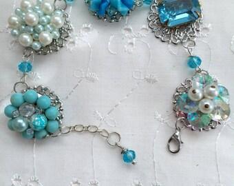 Vintage Aqua Turquoise Earrings Bridal Bridesmaid Wedding Prom Art Deco Upcycled Recycled Silver Bracelet Doodaba