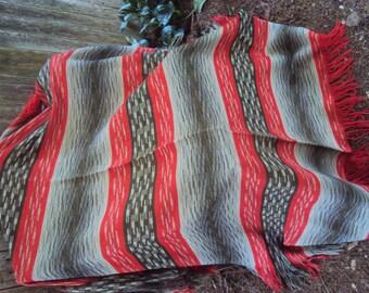 Vintage Green Striped Virgin Wool Lap Throw Blanket Cottage Craft Tweeds made in Canada