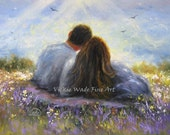 Loving Couple Art Print lovers, romantic, anniversary gift, picnic blanket, summer love, couple in love, outdoors, hugging, Vickie Wade Art