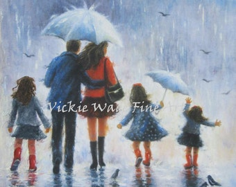 Rain Family Art Print, father mother three daughters, three girls, three sisters, rain people, dad and mom art, umbrellas, Vickie Wade Art
