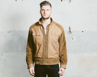 Mens CORDUROY Bomber Jacket . Vintage 1970s Mens Fishing Hunter 70s Outerwear Brown Khaki Zip Up Retro Jacket . Small Medium Large