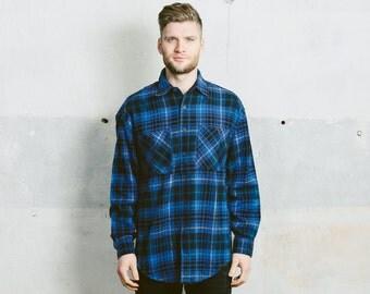 Vintage 1960s Mens Shirt . Plaid Overshirt Shirt 70s Retro Lumberjack Jacket Men Clothing Grunge Boyfriend Gift . Small Medium Large