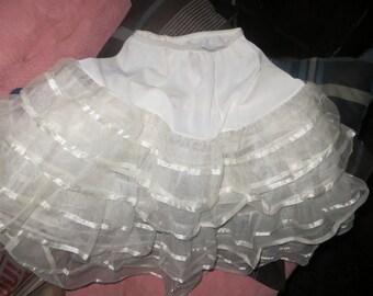 vintage girls 4 tier nylon and chiffon white crinoline petticoat
