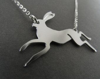 rabbit necklace, running rabbit, animal pendant, rabbit jewelry, silver rabbit, rabbit charm, rabbit