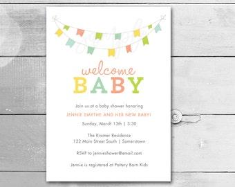 Baby Shower Invitation / Baby Bunting  / Gender Neutral Invitation / PRINTABLE INVITATION / Item 149