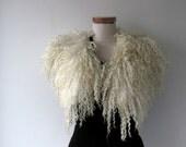 Felt Fur Curly scarf, White fur collar , Hand Felted scarf, Pure Real Wool, Fleece by galafilc Organic and Cruelty Free