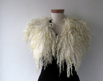 Felt Fur Curly scarf, White fur collar , Hand Felted scarf, Pure Real Wool, Fleece by galafilc Organic and Cruelty Free