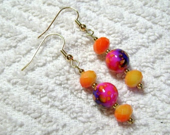 Yellow Orange And Pink - Marbled Dangle Earrings - Earrings - Jewelry - Springy - Bright Colors - E-132