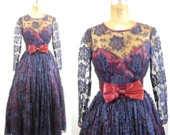 1980s Jessica McClintock Navy Lace Gown - Formal Ballgown Illusion Lace Open back Long Sleeves // Prom Gown