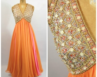 60s Heavily Beaded Chiffon Gown - Pink and Orange Gown - Jewel Encrusted Dress