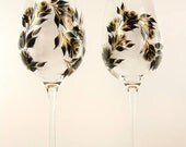 Hand-Painted White Wine CRYSTAL Wine Glasses - Elegant Design Gold and Black Roses Set of 4 Ready to Ship - 50th Anniversary Wine Glass Gift