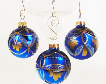 Hand Painted Christmas Balls - Elegant Gold Painted Lace on Sapphire Blue Ball Set of 3 - Hand-Painted Christmas Ornament Stocking Stuffers