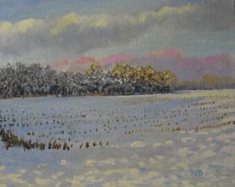 Original oil painting, winter landscape, 8x10