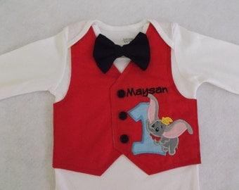 Elephant tuxedo bodysuit, boys 1st or 2nd birthday, bow tie tuxedo, smash cake bodysuit, ringmaster bodysuit, circus, flying elephant