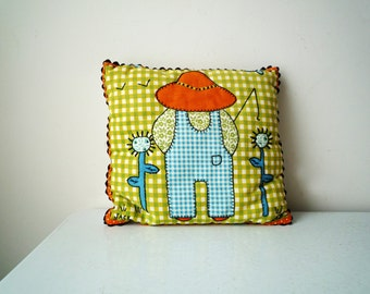 "Handmade Embroidered Decorative Pillow ""JACK"", SALE"