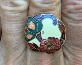 CLOISONNE' RING, Upcycled Jewelry, With Butterfly and Flower, Repurposed Jewelry, Adjustable Band, Ooak, Under 10 Dollars