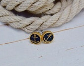 Women's Preppy Nautical Gold Anchor Navy Leather Stud Earrings
