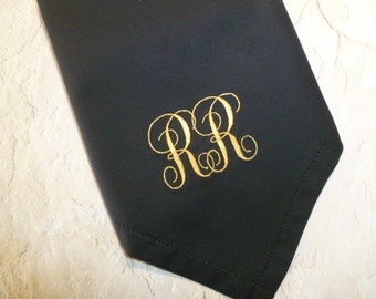 Man's Monogram BLACK Hankerchief Embroidered Personalized Wedding Handkerchief  Mens Groom Bestman Groomsmen