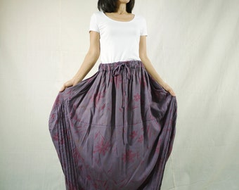 Tulip Skirt - Floral Printed Dusty PlumTulip Shape Maxi Skirt With 2 Pockets