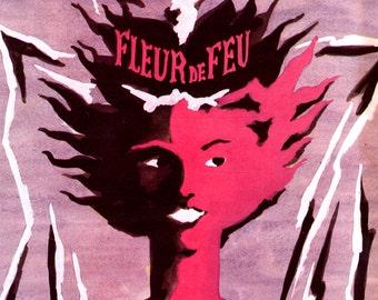 Guerlain Perfume Ad 1950 Fleur de Feu Lyse Darcy illustration Digital 8x10 Instant Download n108