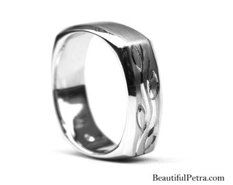 Fl07 Mens WEDDING BAND Square - Comfort Fit - Brushed Satin high polish Finish - Platinum - Hand Etched - Beautiful Petra - BPM07