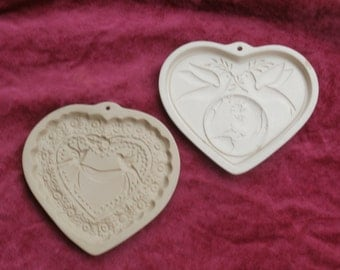 Two Cookie Molds, Heart Shapes Vintage Brown Bag and Newer Pampered Chef