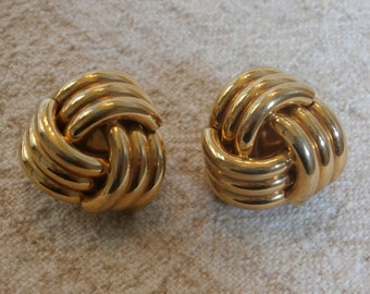 Trifari Clip On Earrings, Gold Tone Knot Shape, Vintage 1970s or 1980s