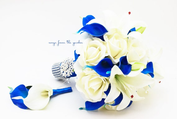 Royal Blue & White Bridal Bouquet Roses Calla Lilies Stephanotis with Groom's Boutonniere - White Royal Wedding Bouquet Pearl Rhinestones