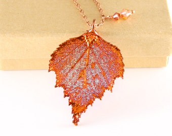 """Autumn Birch Leaf Necklace with 20"""" Chain, Copper Dipped Leaf Pendant, Real Leaf Pendant"""