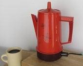 MCM- orange regal percolator - atomic starburst - 4 to 8 cup electric