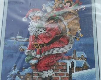 Printed Cross stitch kit Santa Christmas