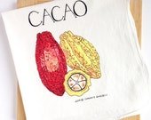 Watercolor Cacao or chocolate tea towel, dish cloth gift of functional art
