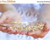 Valentines Day Sale Flowers and Pearls Headband - Simple Golden Floral Headband, Bridal, Everyday, Flower Crown, Boho Headpiece, Wedding hai