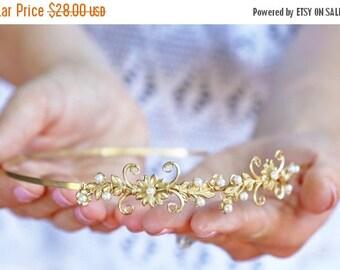 Valentines Day Sale Flowers and Pearls Headband - Simple Golden Floral Headband, Bridal, Everyday, Flower Crown, Boho Headpiece, Wedding hai