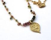 Watermelon tourmaline gold filled Ganesha charm necklace