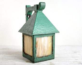 Arts and Crafts Lamp, Vintage Mission Lantern, Outdoor Lighting, Porch Light