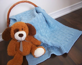 HandKnitted Baby Blanket Blue Wool blend Knit Baby Blanket Boy baby blanket Baptism Christening baby Blanket Hand knit Baby Shower Blanket