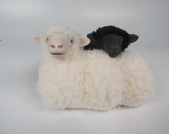 Irish Sheep Galway Black and White Spooning Twins