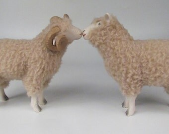 English Dorset Bride and Groom Sheep Kissing