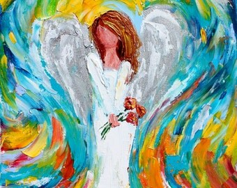 Fine Art Print Angel with Red Flowers made from image of oil painting by Karen Tarlton